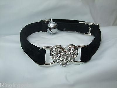 Cat Collar Diamante stones safety elastic Velvet bell  Bling leather heart kitty