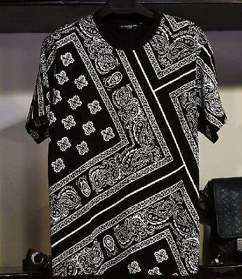 New Men's Hip-hop Allover Paisley Shirt Top Print Graphic Tee T-Shirt Black Tyga