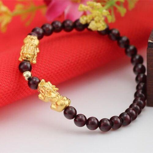 Onsale Pure 24K Or Jaune 3D 14*6mm Lucky Pixiu Link 5 mm GARNET Bead Bracelet