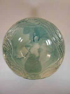 Studio-Art-Pottery-Handmade-Seafoam-Green-11-034-Footed-Bowl-Marked-LAF-982