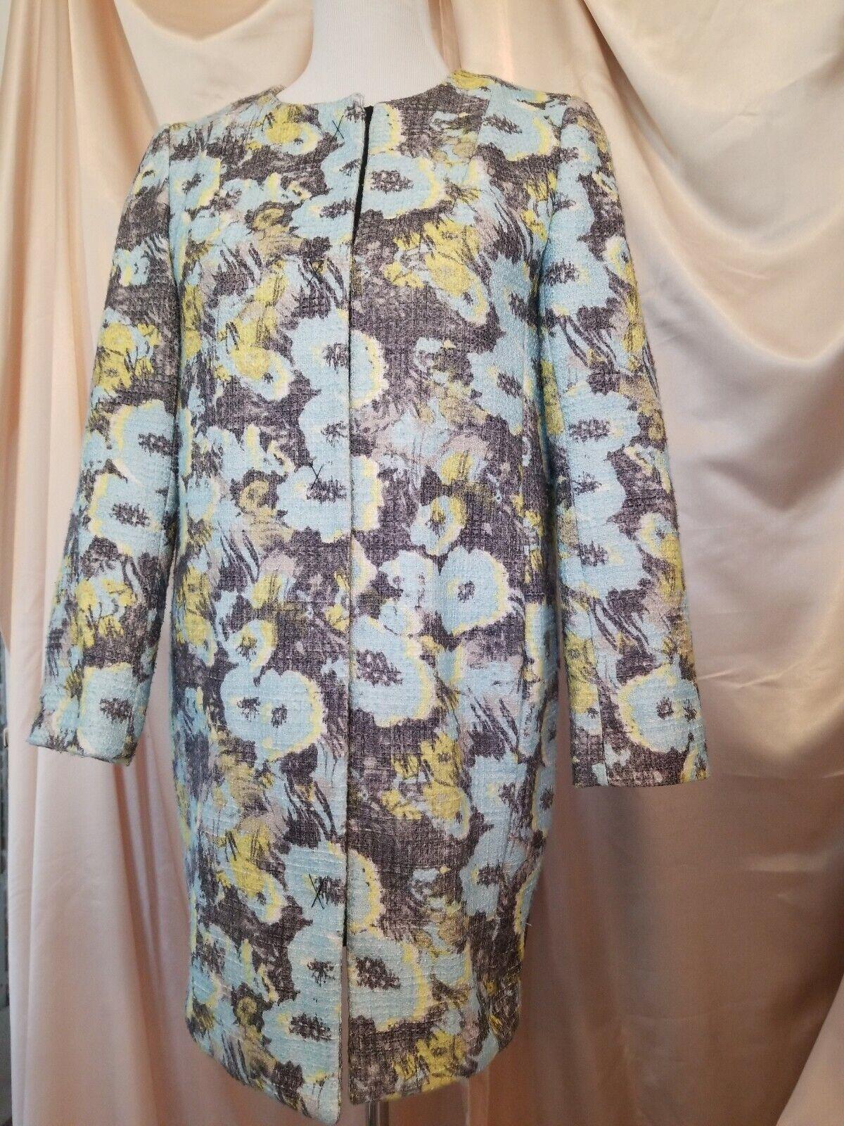 Topshop Robin Egg Blue Neon Yellow Grey Womens Dress Coat Snap Up Sz 2