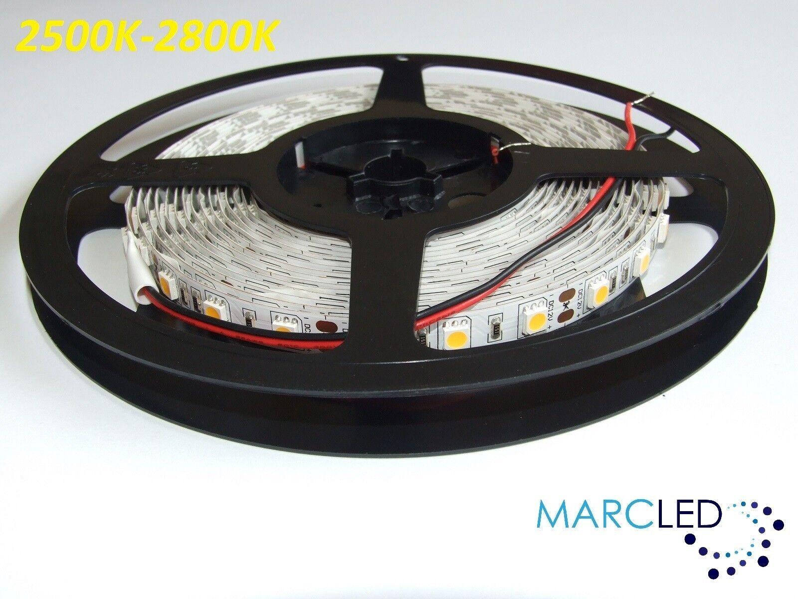 12 V Cc SMD5050 tira de LED 2500k-2800k, 5m (72w, 300leds), Ip20, 60leds m, 14,4 W m
