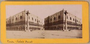 Palais Ducale Venezia Italia Foto Stereo PL55L2n Vintage Albumina c1870