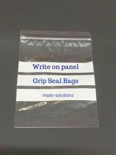 """WRITE ON PANEL/"""" Clear Grip Seal Bags Poly Polythene Resealable Pouches All Sizes"""