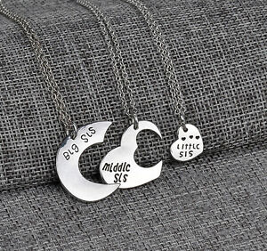 Heart-Pendant-Big-Middle-Little-Sis-Sisters-Forever-Love-Necklaces-Chain-3pcs