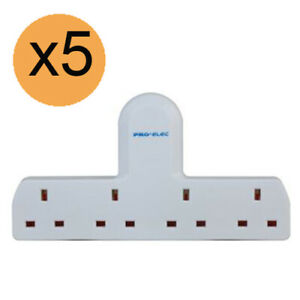 4-GANG-13A-PLUG-MULTI-SOCKET-EXTENSION-ADAPTOR-4-four-way-ADAPTER-x-5