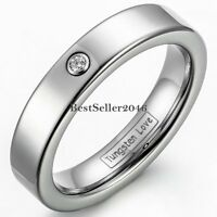 4mm High Polish Silver Tungsten Carbide CZ Ring Wedding Band for Women Size 5-8