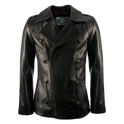 Mens New Black Luxury Leather Military Vintage Style Biker Pea Coat Jacket S-XL