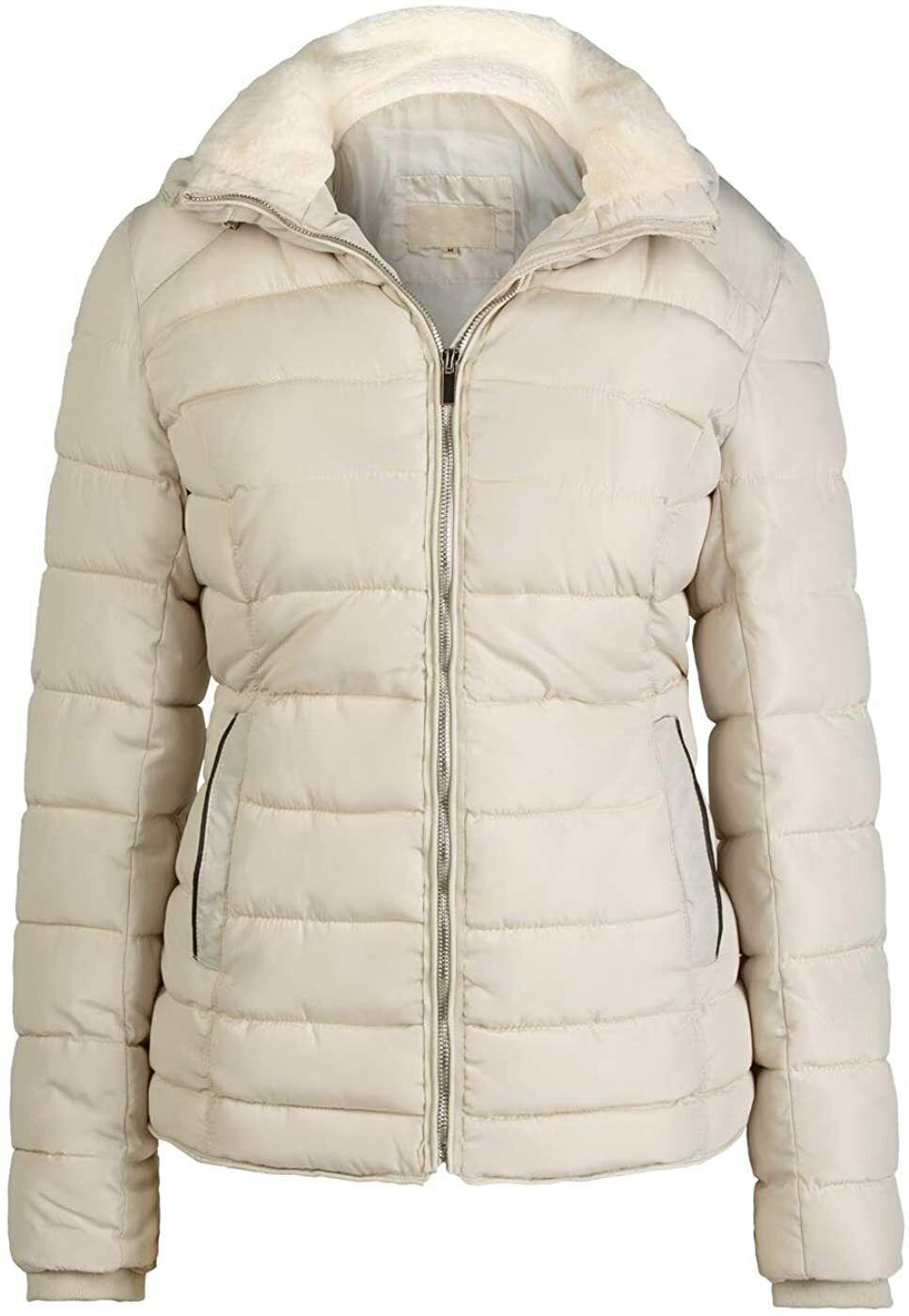 Bellivera Womens Lightweight Puffer Jacket Warm Coat Hooded with Fur Collar