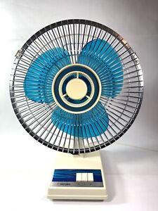 TATUNG-2-Speed-10-Oscillating-Desk-Fan-Blue-Blades-Model-LA-9-Vintage-Perfect