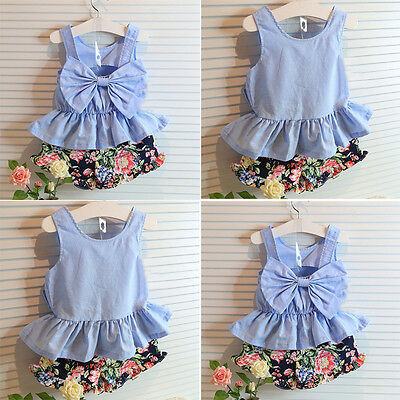 Baby Girls Kids LOVELY Bowknot Sleeveless Vest T-shirt Tops + Short Pants Outfit