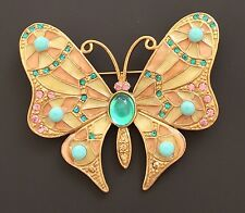 Butterfly W/Jewelled Body Brooch In Gold Tone Metal W/crystals& Faux Stones