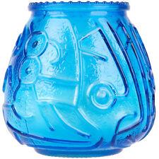 "12-Pack Blue 4 1/8"" Wedding Restaurant Round Glass Wax Filled Venetian Candles"