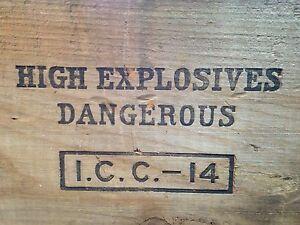 Explosives 100 lb picric acid dovetail vintage wood crate dynamite tnt