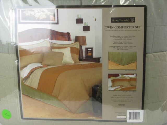Home Trends Twin Comforter Set 3 Piece Brown Tan Green Bedding For Online Ebay