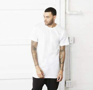 Mens longline t shirt long extra length tall body urban for Extra long shirts for tall men