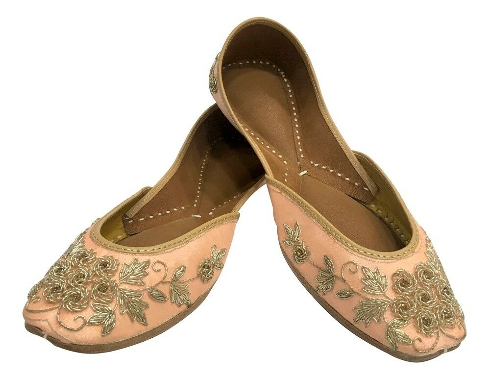 US Embroidered Handmade Women Ballet shoes Mojari SLIPON Jutti Khussa SHOE SS259