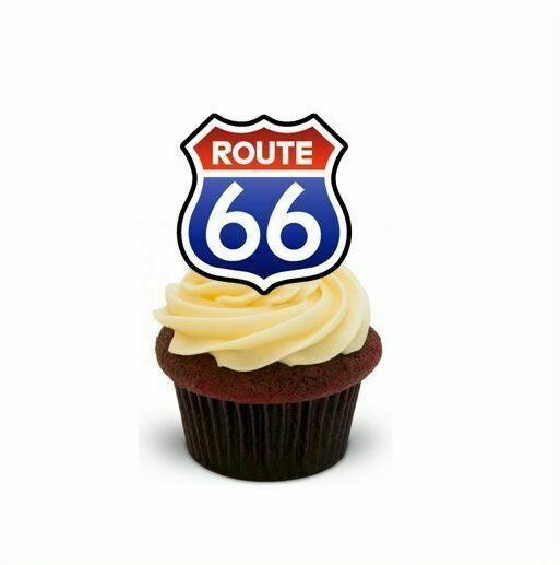 Outstanding Novelty Route 66 12 Stand Up Edible Cake Toppers Birthday Holiday Funny Birthday Cards Online Alyptdamsfinfo