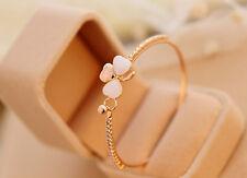 Clover Opal Fashion Bangle Jewelry Sweet 14 k Gold Plated Charm Bracelet