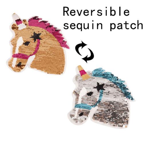 horse unicorn reversible change color sequins sew on patches diy applique crafL2