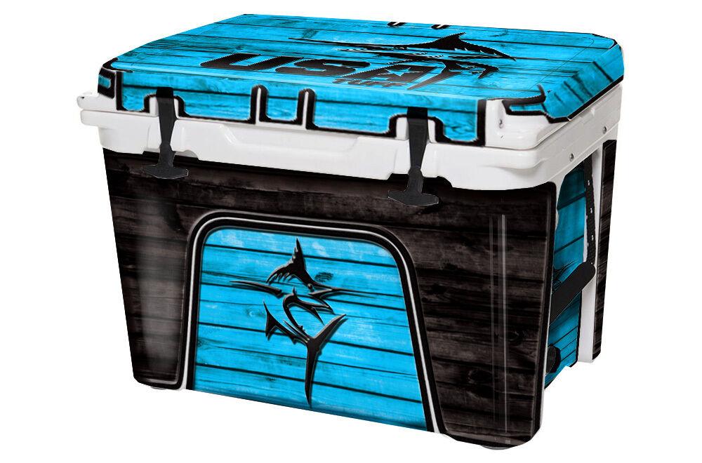 USATuff Custom Cooler Decal Wrap fits YETI Tundra 65qt 65qt Tundra FULL Marlin Blau 3f792e