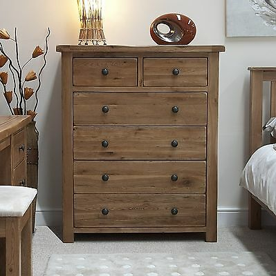 Denver 2 over 4 chest of drawers solid rustic oak bedroom ...