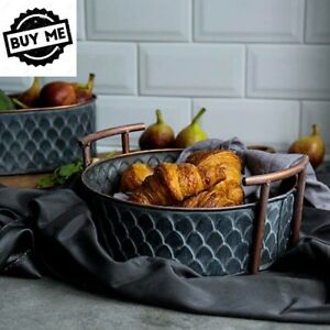 Retro-Round-Iron-Basket-with-Handle-Handcrafted-Vintage-Metal-Fruit-Bread-Tray