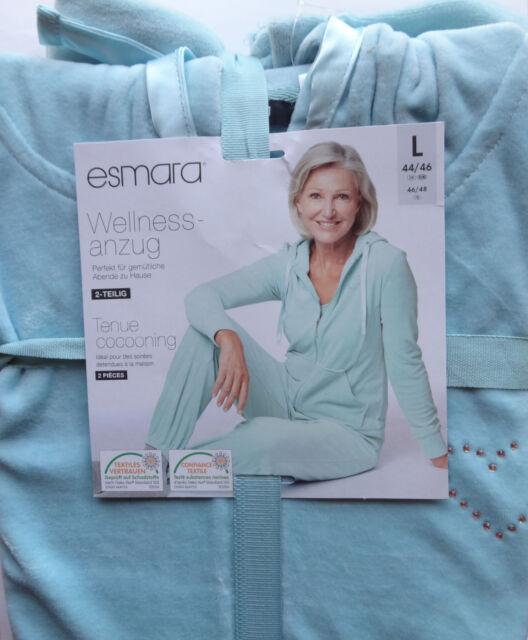 NEU Damen Wellnessanzug mit Kapuze Nickianzug Glitzer Yoga Sport Relax L XL Mint