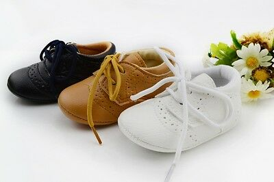 New Toddler Baby Leather Casual Shoes Boys Girls Non-Slip Lace Shoes 0-12M A24