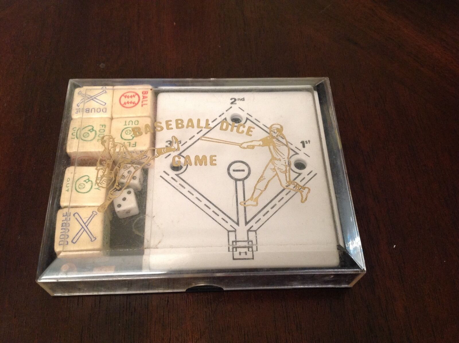 Baseball Dice Game. Chula Vista Novelty Company. Dice Board, Pegs, Case