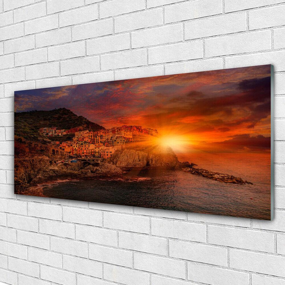 Verre Imprimer Wall Art Image 125x50 Photo Mer Ville Soleil Paysage