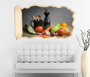3d Adhesivo De Pared Verduras Cocina Zanahoria Aceite Papel Pintado