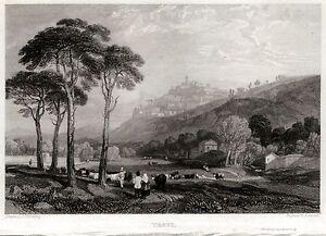 Acciaio.Steel engraving.Stahlstich. Venezia Prout Panorama Passepartout.1830