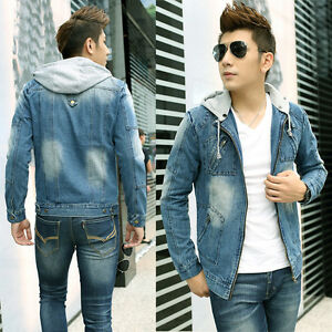 Men S Hooded Retro Slim Jean Coat Outwear Fashion Vintage Hoodie
