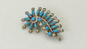 Vintage-Zuni-Silver-amp-Turquoise-Petit-Point-Pin-Brooch-or-Pendant-Southwestern