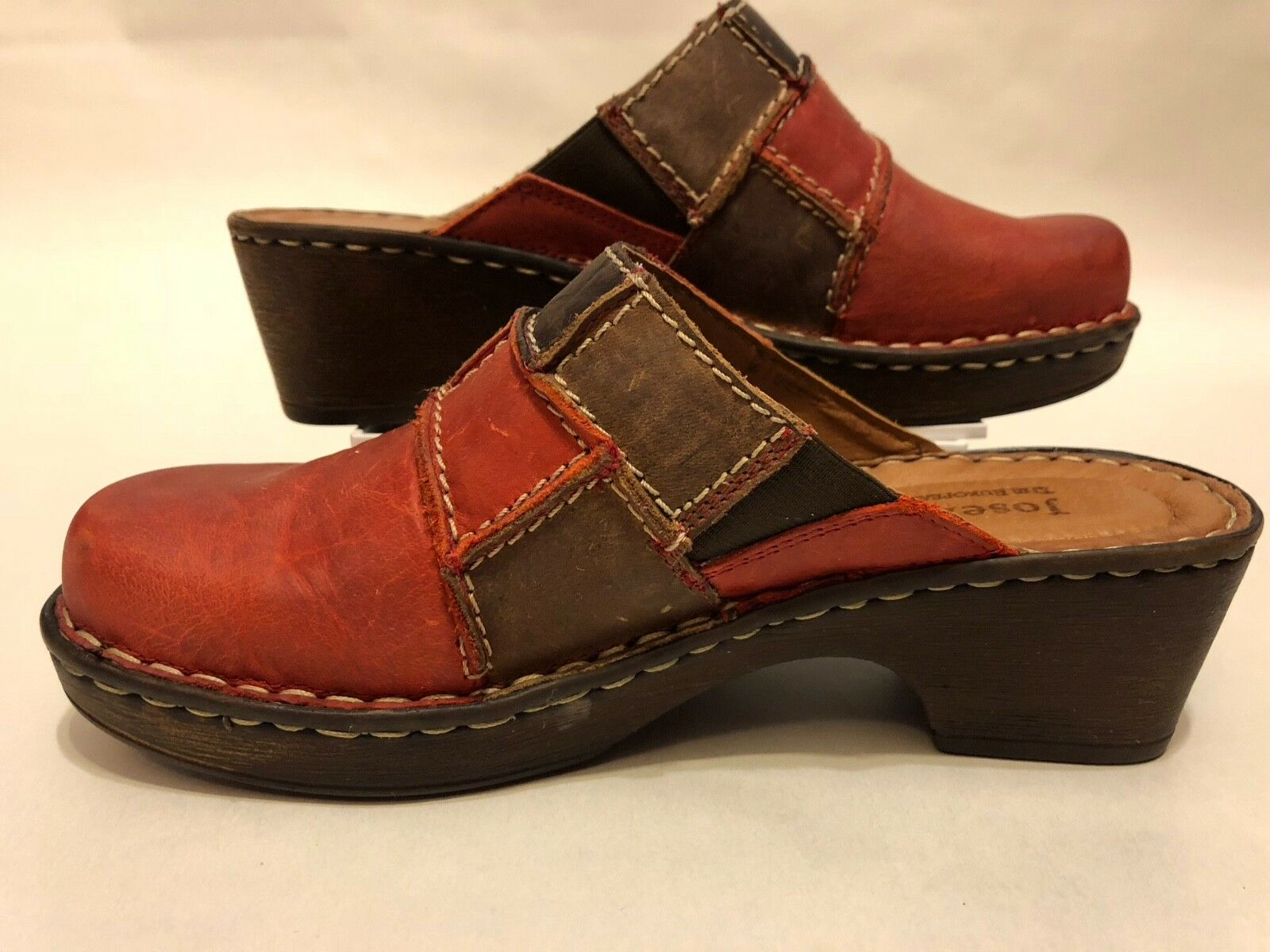 New Josef Seibel Rebecca Women Leather Clog shoes Slip On Red Brown Bark Size 36