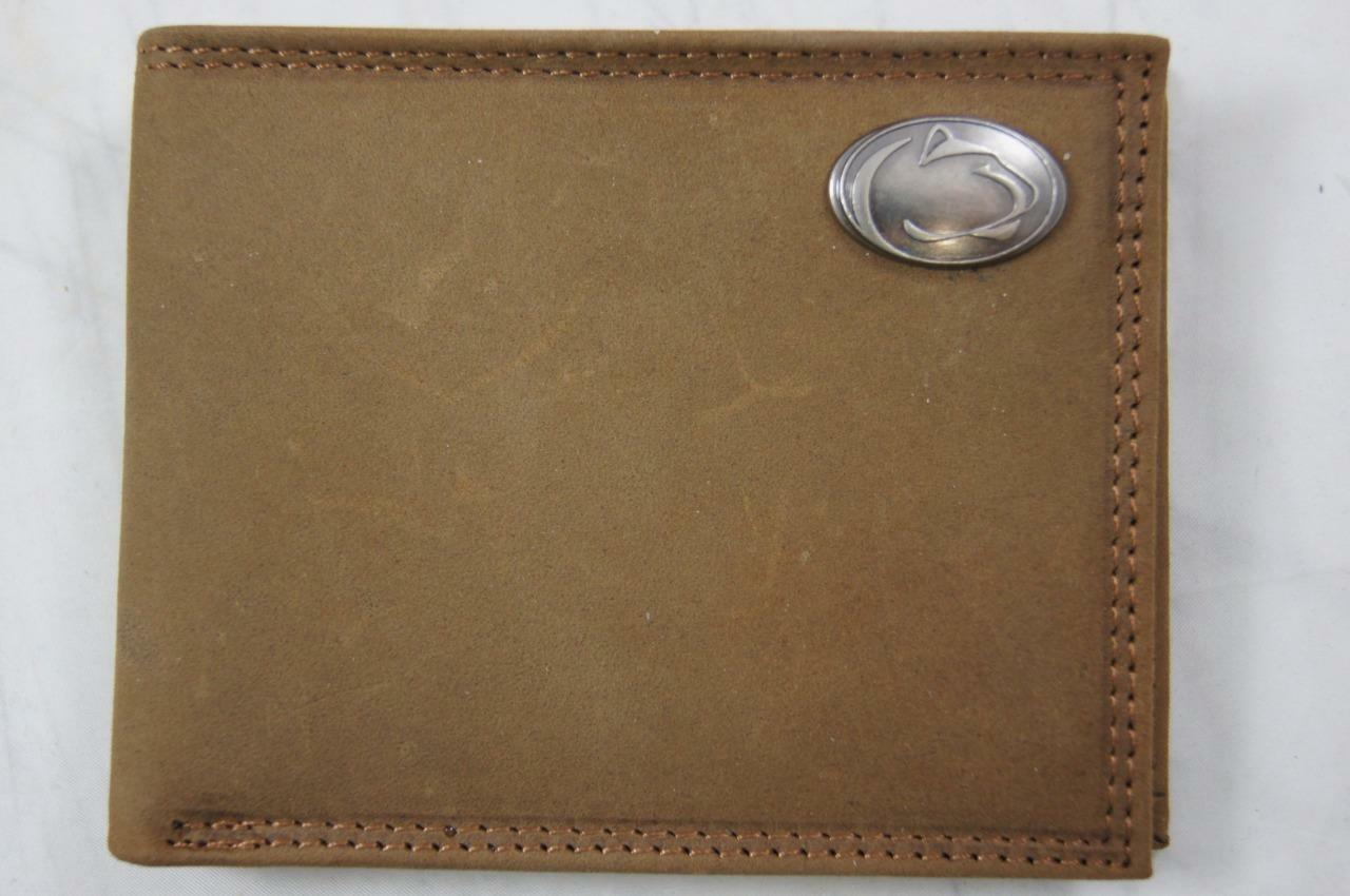 ZEP PRO Penn State Nittany Lions Crazy Horse Leather bifold Wallet Tin Gift Box