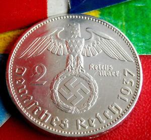 XX-RARE 1937-A NAZI GERMAN SWASTIKA SILVER 2 ReichsMark COIN REAL 3rd-REICH WW2