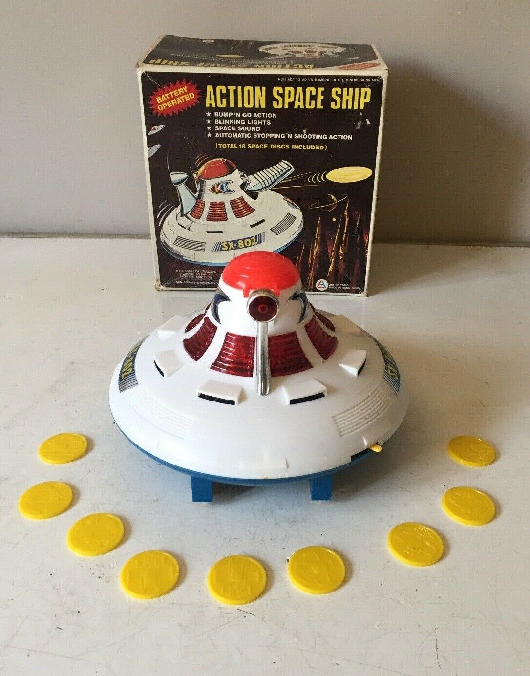 SOMA BATTERY OPERATED ACTION SPACE SHIP  BUMP N N N GO  SHOOTING SPACE DISCS BOXED 403