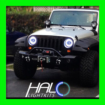 2007-2014 JEEP WRANGLER WHITE PLASMA HALO HEADLIGHT LIGHT KIT by ORACLE 2 Rings