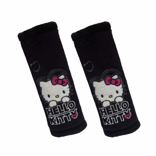 2 x Car Safety Seat Belt Pad Cushion Cover ❀ Genuine Black Hello Kitty for Kids