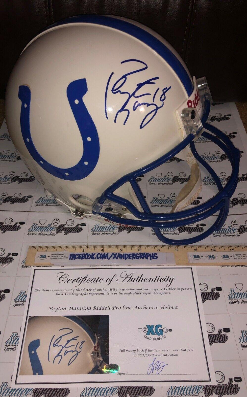 Peyton Manning Autografato Indianapolis Colts Autentico pro Line Helmet-Coa