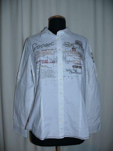 Broderie Manches 42 Xl Haut Avec Blanc Top Longues Vert Soccx Chemise Élégant axA0qp