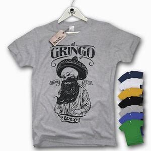 T-Shirt - EL GRINGO LOCO - Skull Beard Bart Oldschool Mexican Top S M L XL XXL