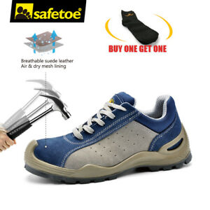 bdc93d73ec9c Safetoe Work Shoes Safety Boots Blue Leather Steel Toe Anti-nail ...