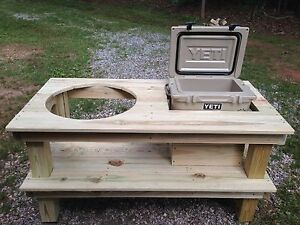 big green egg pressure treated pine table with yeti roadie cooler rh ebay com green egg table plans green egg table cover