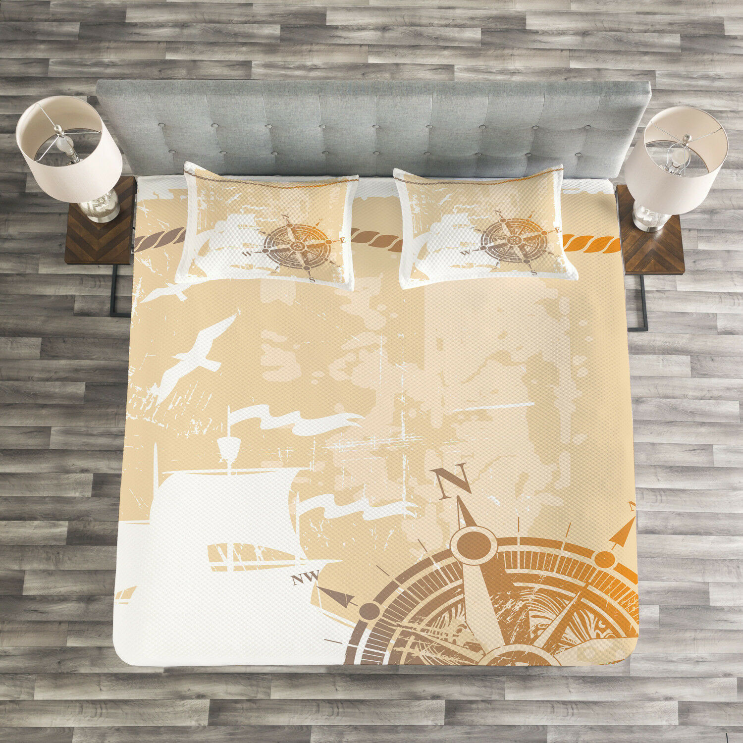 Compass Quilted Bedspread & Pillow Shams Set, Nautical Ship Rope Cool Print