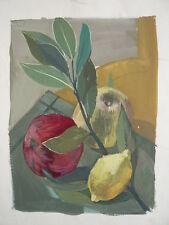 Gouache sur Papier Étude Fruits Nature morte c.1950 Y. MILIN #51 Peinture Dessin