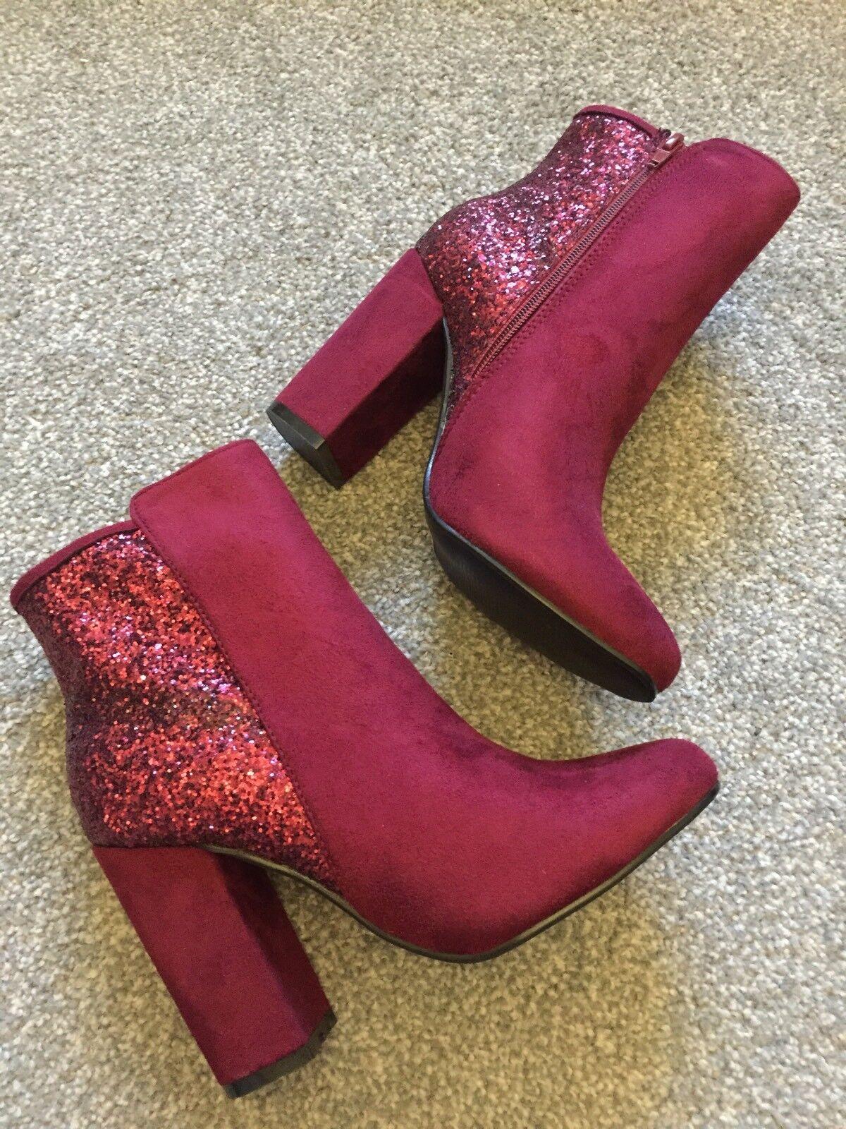 BNIB Ladies Divine Glitter Block Heel Magenta Burgundy Sock Ankle Boots UK 7