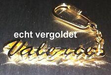 EDLER SCHLÜSSELANHÄNGER VALERIE ECHT VERGOLDET GOLD NAME KEYCHAIN KEYRING NEU